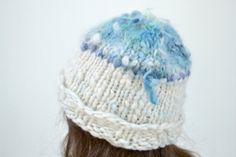 Hand Knit Handspun Hat Warm Winter Cap Womens Blue and by Easy123