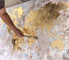 Gold leaf gliding the World Map, Original acrylic painting, Gold leaf foil art World Map Decor, World Map Art, World Map Canvas, Gold World Map, Diy Canvas Art, Acrylic Painting Canvas, Painting On Wall, Splatter Paint Canvas, Textured Canvas Art