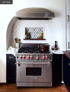 A Modern Moroccan Kitchen | Rue- Like the idea of the inset shelf.