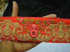 Lace, Crochet & Doilies Just Sanskriti Vintage Sari Border Craft Pink Trim Hand Embroidered Sewing Decor Lace Lustrous