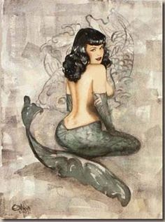 Bettie Page mermaid. I like this rendition because her face looks sweet. Not quite so vixen-ey..