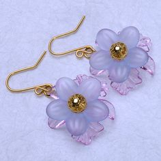 Blue and lilac lucite flower earrings lucite by LindenTreeJewelBox, $7.50