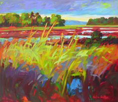 The energy of  summer atmosphere created with bold colors and contrasting brush strokes~ Betty Anglin Smith - Anne Irwin Fine Art 'SUMMER MARSH'