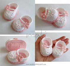 Crochet Baby Booties (4) Name: 'Crocheting : FREE crochet pattern Mini bootie...
