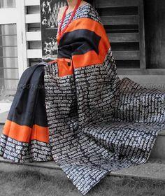 Stunning Dupion Silk Saree with Block Print
