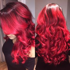 WOWZA👏. A #gorgeous #balayage using some power #red on April, one of R7S's Salon Directors. All #colorwork done by YARI💓. #fabuloushair #colorfulhair