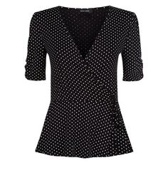 Black Polka Dot Wrap Front Top | New Look