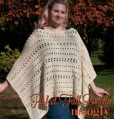 """""""The Perfect Fall Poncho features a simple cable-look pattern so it works up fast, an easy to wear shape and neutral color (in cozy Lion Brand Fishermens Wool), and is one size fits just about all adults - this one has been tested on everyone! Crochet Cape, Crochet Poncho Patterns, Crochet Shawls And Wraps, Crochet Shirt, All Free Crochet, Shawl Patterns, Crochet Cardigan, Crochet Scarves, Easy Crochet"""