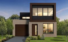 Every Carter Grange Façade speaks for itself. No matter where your Carter Grange home is located, it is going to stand out from the rest on the street. Double House, Double Storey House, Flat Roof House, Facade House, Minimalist House Design, Modern House Design, Architecture Design, Hamptons Style Homes, Modern House Facades