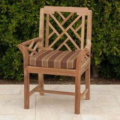 Outdoor Willow Creek Designs Monterey Teak Dining Arm Chair with Sunbrella Cushion Canvas Rust - WC-11-54010