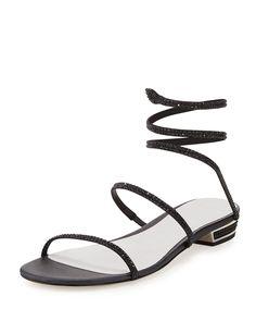 4c1b50ddd5e Rene Caovilla Crystal Coil Flat Sandal
