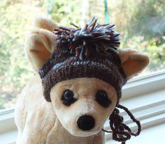 Dog Hat Hand Knit Pom Pom Merino Wool Small by jenya2 on Etsy, $14.99