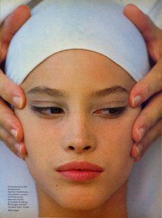 Signals of Change: The Cosmetic Message Photo Arthur Elgort Models Christy Turlington & Claire Hoak  US VOGUE October 1985