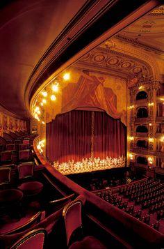 Interior of the auditorium of the Teatro Colón in Buenos Aires, Argentina.