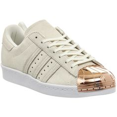 Adidas Superstar 80's Metal Toe W ($120) ❤ liked on Polyvore featuring shoes, sneakers, hers trainers, off white rose gold and trainers