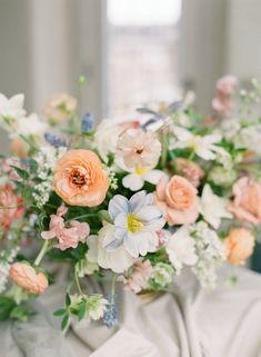 Spring Wedding Flowers, Floral Wedding, Wedding Bouquets, Peach Wedding Decor, Blue Peach Wedding, Wedding Pastel, Wedding Dresses, Peach Bouquet, Pastel Bouquet