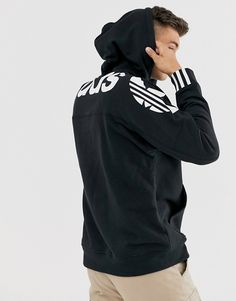 Buy adidas Originals RYV hoodie with back print in black at ASOS. Get the latest trends with ASOS now. Mens Cotton Shorts, Fashion Poses, Pants Outfit, Swim Shorts, Hoodies, Sweatshirts, Adidas Originals, Adidas Jacket, Latest Trends