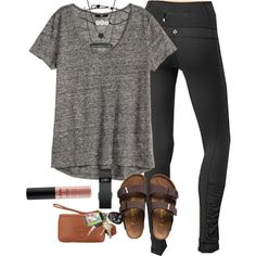 OOY- outfit of yesterday by prep-lover1 on Polyvore featuring H&M, Tory Burch, Kendra Scott, Lilly Pulitzer, NYX, Birkenstock, Fitbit and lululemon