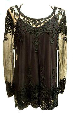 b52a8f1d13b Vintage Black lace dress tunic-20 gothic party evening wicca boho hippie   Amazon.co.uk  Clothing