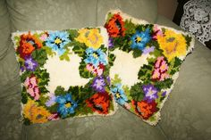 lot of 2 Handmade Vintage Retro Floral Pillow Latch Hook Bright Colors kitsch | Crafts, Handcrafted & Finished Pieces, Needle Arts & Crafts | eBay!