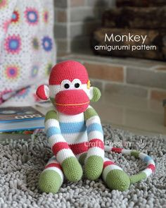 This crochet monkey made with our Babysoft yarn by Craft Passion is a great addition to someone's sock monkey collection.