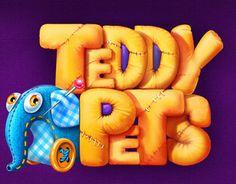 Teddy Pets by Mary Antonenko, via Behance Logos, Typography Logo, Game Font, Cute Bunny Cartoon, Toys Logo, Game Logo Design, Game Interface, Splash Screen, Game Concept