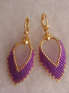 Seed Bead Earrings - Bead Woven Russian Leaf  - Violet. $22.00, via Etsy.