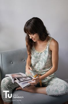 Update your pyjama game with a leaf-print jumpsuit.