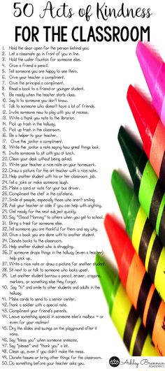 Promoting acts of kindness teaches empathy and good citizenship. This compilation will give you 50 acts of kindness that you can use in your classroom to engage your students in acts of kindness that they can do at school. Hold the door open for the person behind you. Let a classmate go in front of Read More