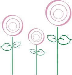 Lollipop Flowers vinyl wall decals.  Cute to make a garden around the baseboards of the her walls