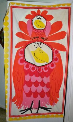 """Vtg 60's Wall Hanging Decor Giant Chicken and Baby Signed Scuda 68"""" X 39"""""""