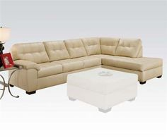 Shi Cream Bonded Leather Sectional Sofa (Left Facing )