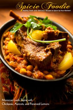 Moroccan Lamb Tagine with Chickpeas, Apricots, and Preserved Lemons  | #MorrocanFood #lamb