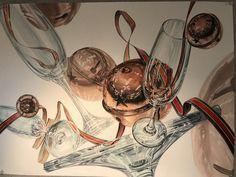 #기초디자인 #방울 #샴페인잔 #크리스마스리본 #김유진선생님 #경기예술고등학교 Painting Inspiration, Glass, Interior, Illustration, Design, Drinkware, Indoor, Corning Glass