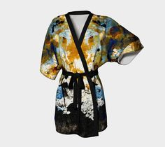 Belted kimono designed using an original abstract painting. Art made by me transformed into a unique kimono for you. Click on the image or the Visit button to see more images and more designs at paperwerks.etsy.com. #etsy