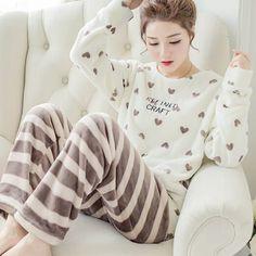 Autumn and Winter Women Pyjamas Sets Thick Warm Coral Velvet Suit Flannel Long  Sleeve Female Cartoon Bear Animal Pants Sleepwear b8b3eb2b9