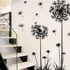 Black Removable Art Vinyl DIY Dandelion Decal Mural Wall Sticker Home Room Decor Removable Wall Stickers, Flower Wall Stickers, Wall Stickers Home Decor, Wall Stickers Murals, Wall Decor, Mural Wall, Sticker Mural, Bedroom Stickers, Floor Stickers