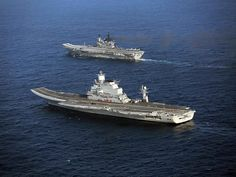 Vikramaditya, in the foreground, with Indian navy carrier Viraat. Photo via Defense Industry Daily