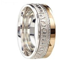 This comfort fit version of the soulmate ring is handcrafted in Sterling silver and then oxidized to ensure the lettering is clearly visible. The Irish words