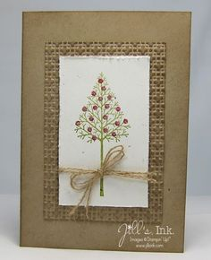 handmade Christmas card: Warmth & Wonder SAS Card ... kraft ... luv the wide mat layer with texture and inking ... simple tree with glitter glue ornaments ...  focal point in ivory wrapped with twine and bow ... Stampin' Up!