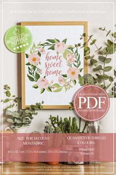 Home Sweet Home Cross Stitch Pattern PDF Floral Wreath Cross