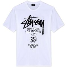 Stussy Short Sleeve T-Shirt ($40) ❤ liked on Polyvore featuring men's fashion, men's clothing, men's shirts, men's t-shirts, men, white, mens print shirts, mens jerseys, mens white t shirts and mens cotton shirts