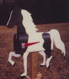 painted mailboxes with dogs   American Saddlebred B&W