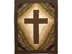 Watercolor Cross Quilt -- outstanding ably made Amish Quilts from Lancaster (wh4771)