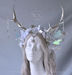 Fancy Fairy Wings & Things — The Silver Antlered Winter Fairy Faun headdress,. Fancy Fairy Wings & Things — The Silver Antlered Winter Fairy Faun headdress,. Fairy Halloween Costumes, Fantasy Costumes, Winter Fairy Costume, Mode Baroque, Fairy Crown, Fantasias Halloween, Fantasy Dress, Fantasy Hair, Fantasy Jewelry