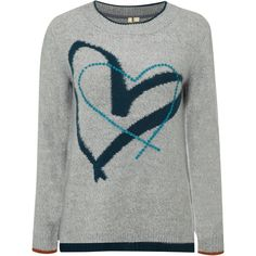 White Stuff Cross My Heart Jumper, Grey (2.780 RUB) ❤ liked on Polyvore featuring tops, sweaters, grey jumper, white jumper, heart print sweater, white sweater and round neck sweater