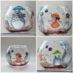 Стеклянный шар 'Тоторо' подсвечник