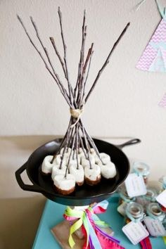 glamping party:  chocolate-dipped marshmallows on sticks in a cast iron skillet...LOVE this display!