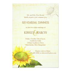 Outdoor Wedding Rehearsal Dinner Invitations Sunflowers + Papyrus Print Rehearsal Dinner Card