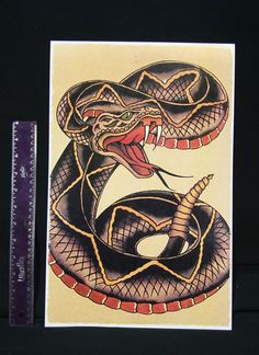Large Cobra Snake vintage Sailor Jerry Traditional style Flash poster print
